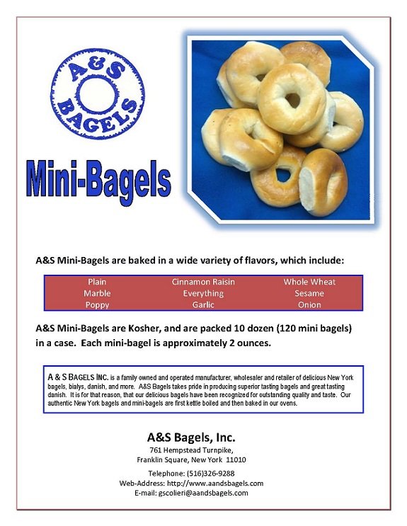 Mini Bagels for Wholesale and Commercial Accounts from A ... Aandsbagels
