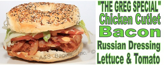 Greg Special Chicken Cutlet Bacon Russian Dressing Bagel